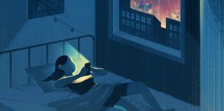 Dibujo de un adolescente usando un smartphone en la cama, por la noche. Como afecta el uso de estos dispositivos a nuestros niños