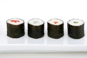 muestra de sushi japonés, una de las mayores preocupaciones durante el embarazo