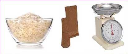 elementos para realizar la prueba del arroz para medir el tamaño de implante mamario adecuado.